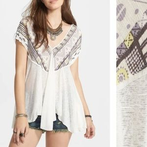 Free people we are golden v-neck tunic SM